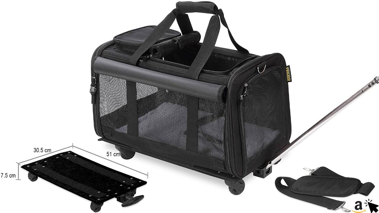KOPEKS Katzen Transporttasche mit Rädern, 2 in 1 mit abnehmbarer Tasche
