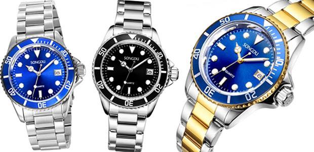 SONGDU Herren Armbanduhr Quarz ähnlich wie Rolex Submariner