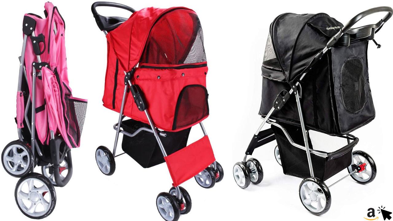 display4top Katzenbuggy Faltbar, Katzen- Kinderwagen, Jogger, Buggy mit 4 Rollen, bis 15kg, 3 Farben