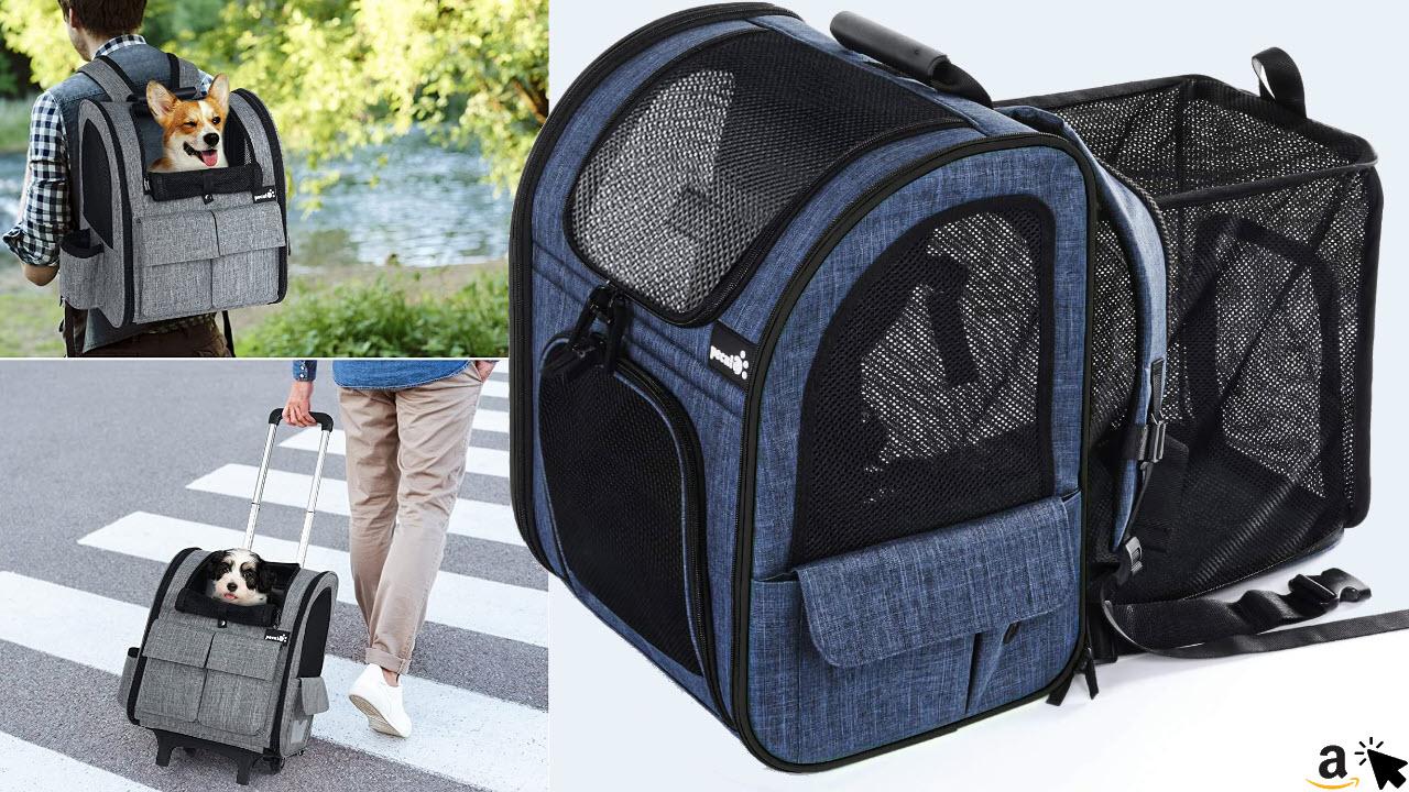 pecute Katze Rucksack Trolley mit Netzfenster, Faltbare Tragetasche, bis 6kg